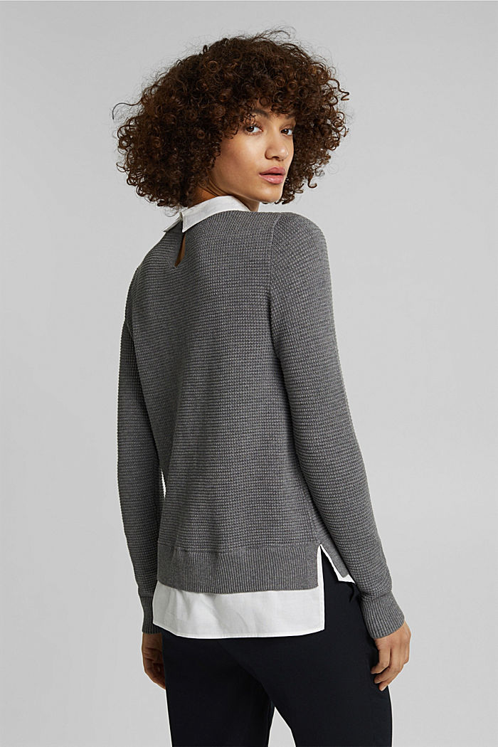 2-in-1 jumper in a textured knit, GUNMETAL, detail image number 3