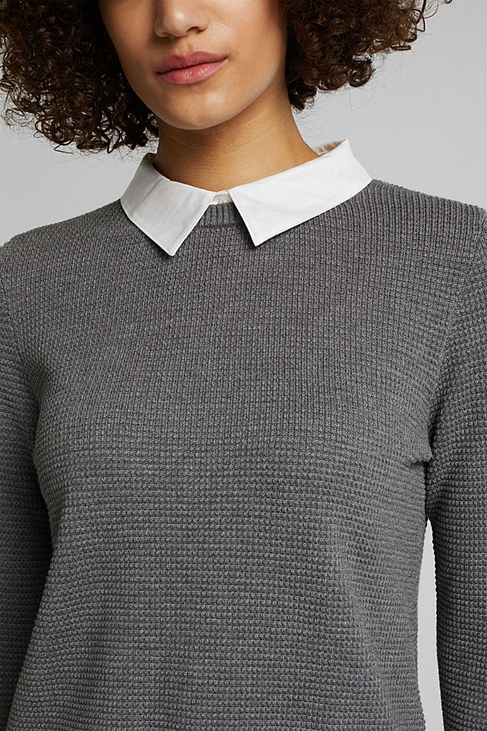 2-in-1 jumper in a textured knit, GUNMETAL, detail image number 2
