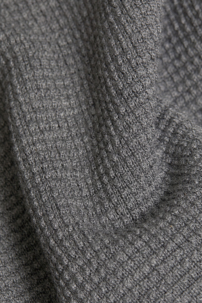 2-in-1 jumper in a textured knit, GUNMETAL, detail image number 4