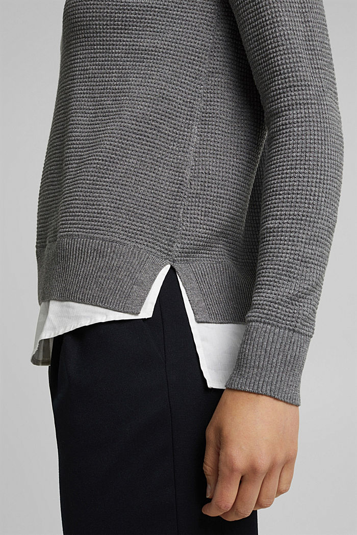 2-in-1 jumper in a textured knit, GUNMETAL, detail image number 5