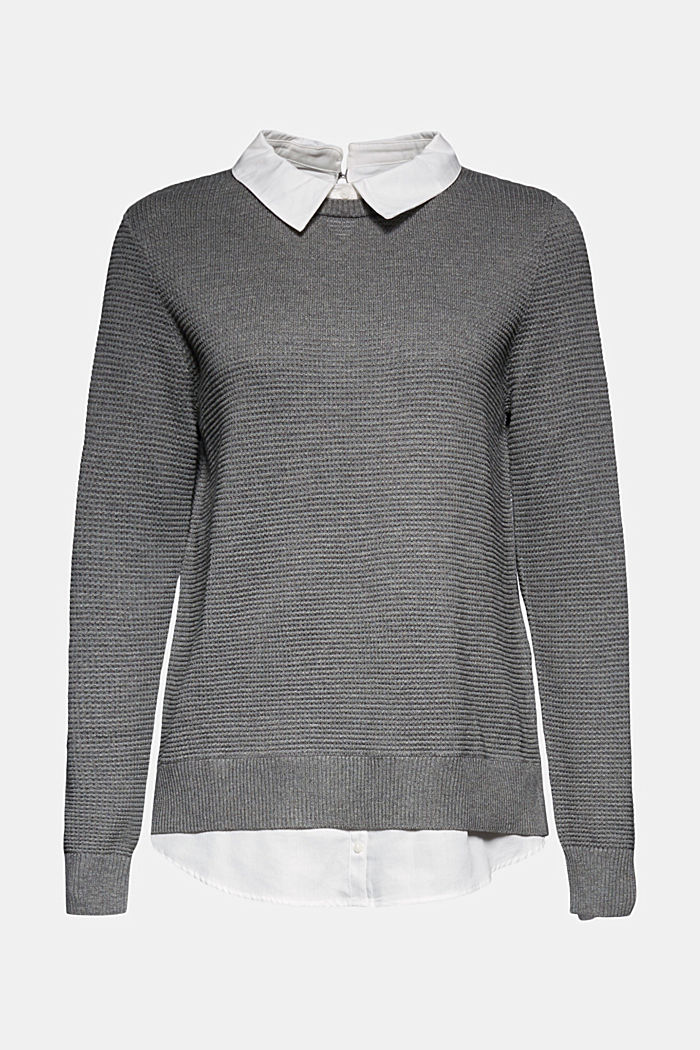 2-in-1 jumper in a textured knit, GUNMETAL, detail image number 7