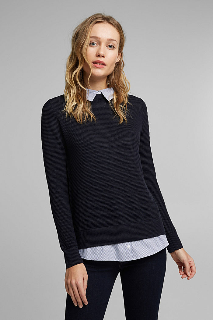 2-in-1 jumper in a textured knit, NAVY, detail image number 0