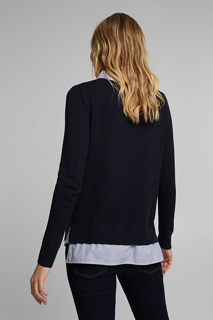 2-in-1 jumper in a textured knit, NAVY, detail image number 3