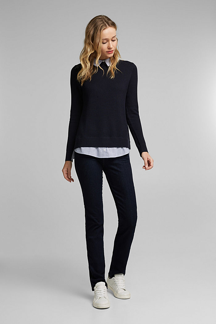 2-in-1 jumper in a textured knit, NAVY, detail image number 1