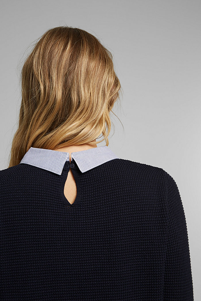 2-in-1 jumper in a textured knit, NAVY, detail image number 5