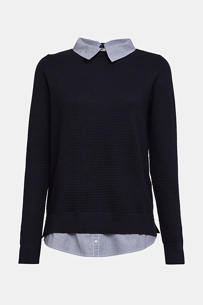2-in-1 jumper in a textured knit, NAVY, detail image number 6