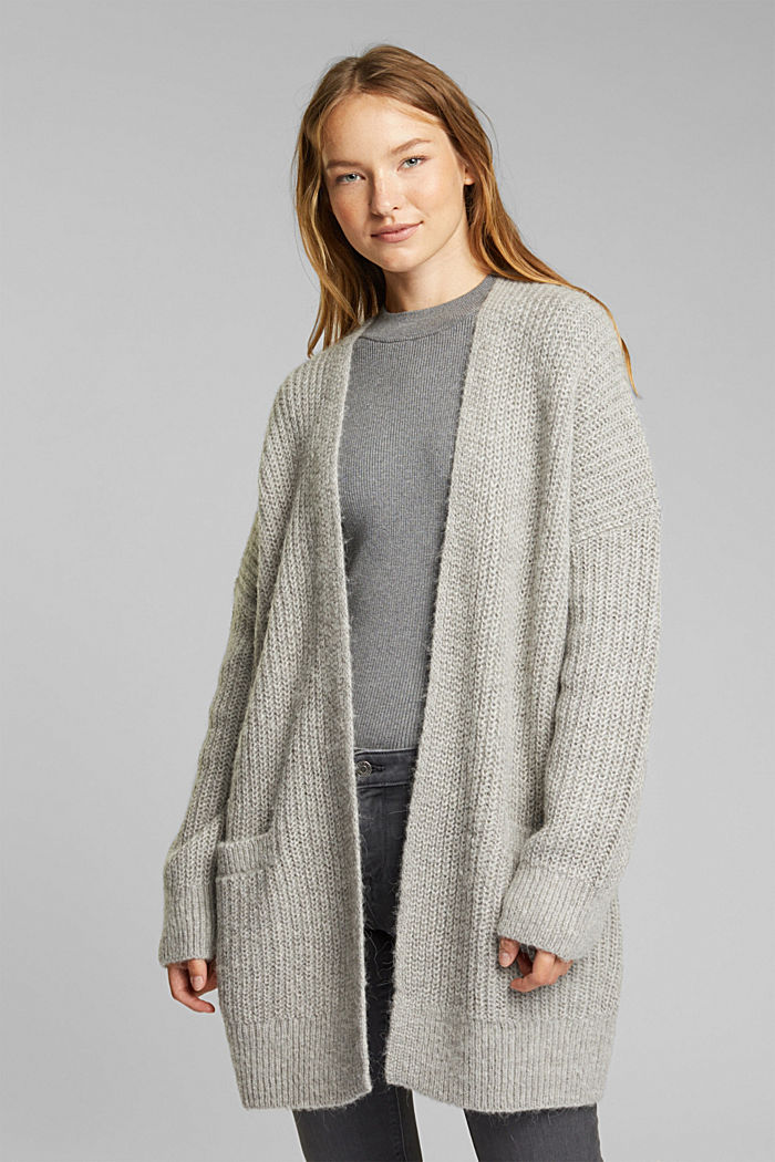 With wool and alpaca: open cardigan, MEDIUM GREY, detail image number 0