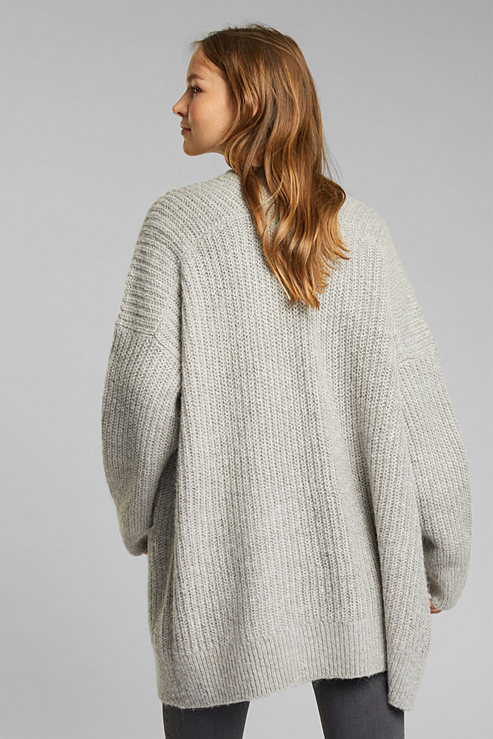 With wool and alpaca: open cardigan, MEDIUM GREY, detail image number 3