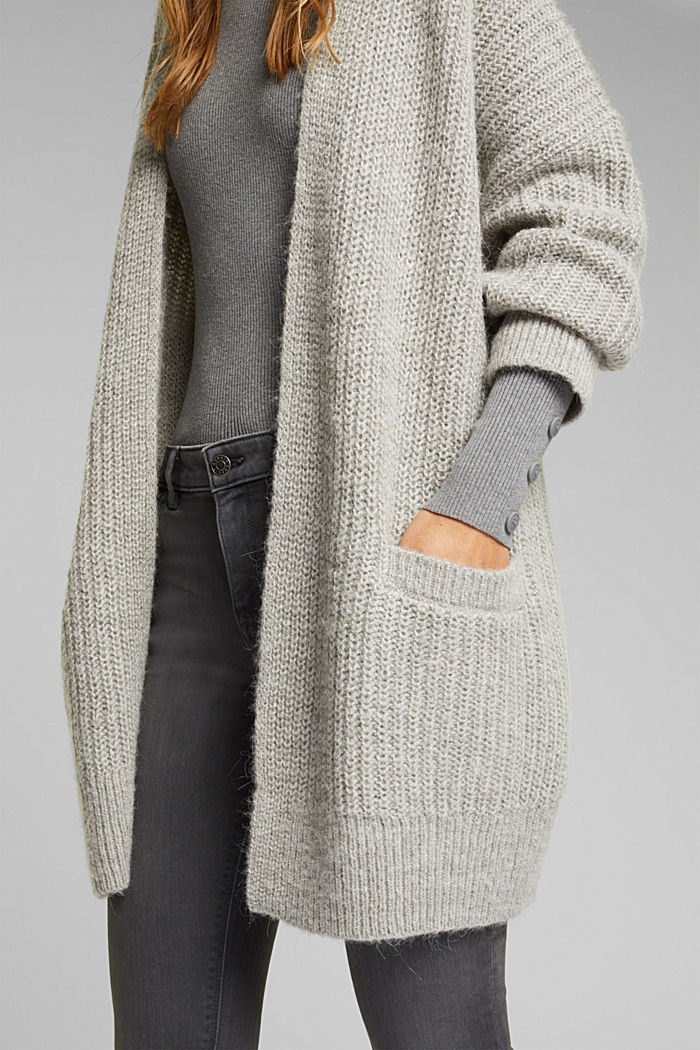With wool and alpaca: open cardigan, MEDIUM GREY, detail image number 2