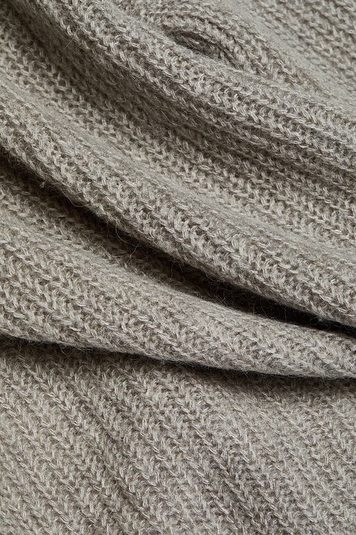 With wool and alpaca: open cardigan, MEDIUM GREY, detail image number 4