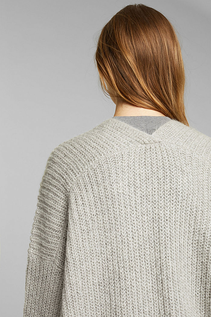 With wool and alpaca: open cardigan, MEDIUM GREY, detail image number 5