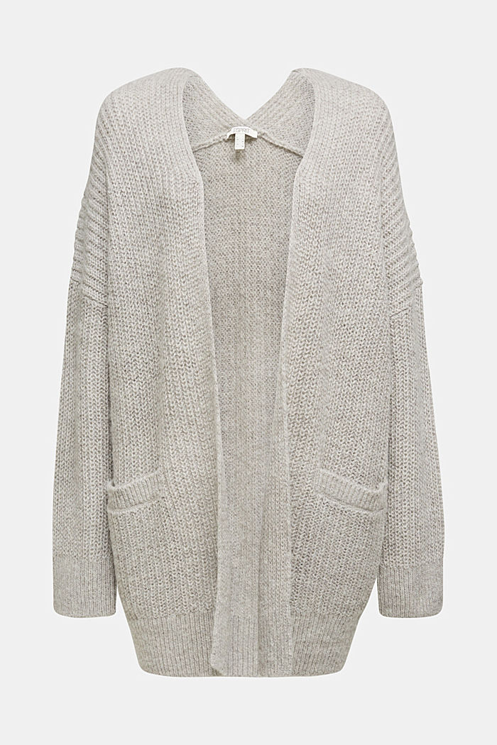 With wool and alpaca: open cardigan, MEDIUM GREY, detail image number 7