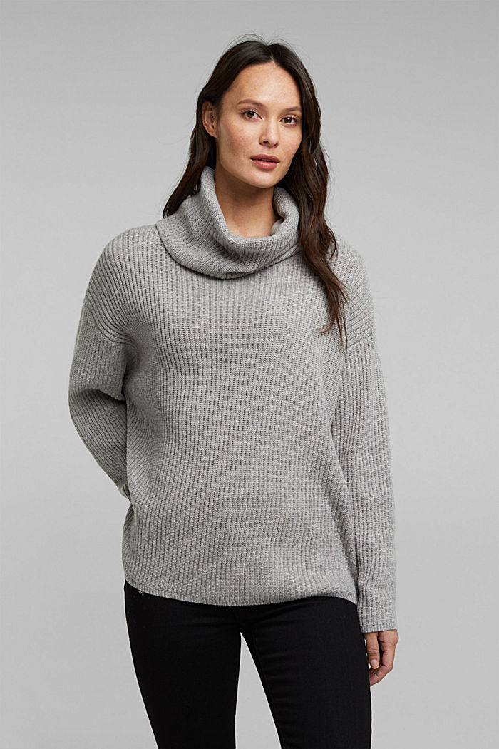 With cashmere: oversized polo neck sweater, MEDIUM GREY, detail image number 0