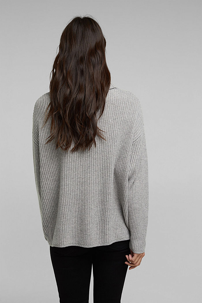 With cashmere: oversized polo neck sweater, MEDIUM GREY, detail image number 3