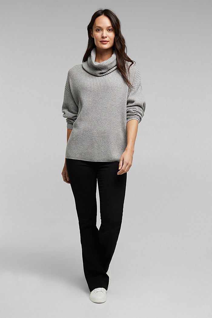 With cashmere: oversized polo neck sweater, MEDIUM GREY, detail image number 1