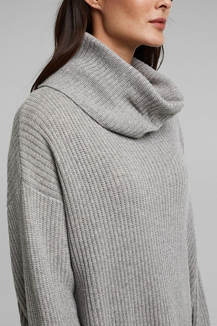 With cashmere: oversized polo neck sweater, MEDIUM GREY, detail image number 2