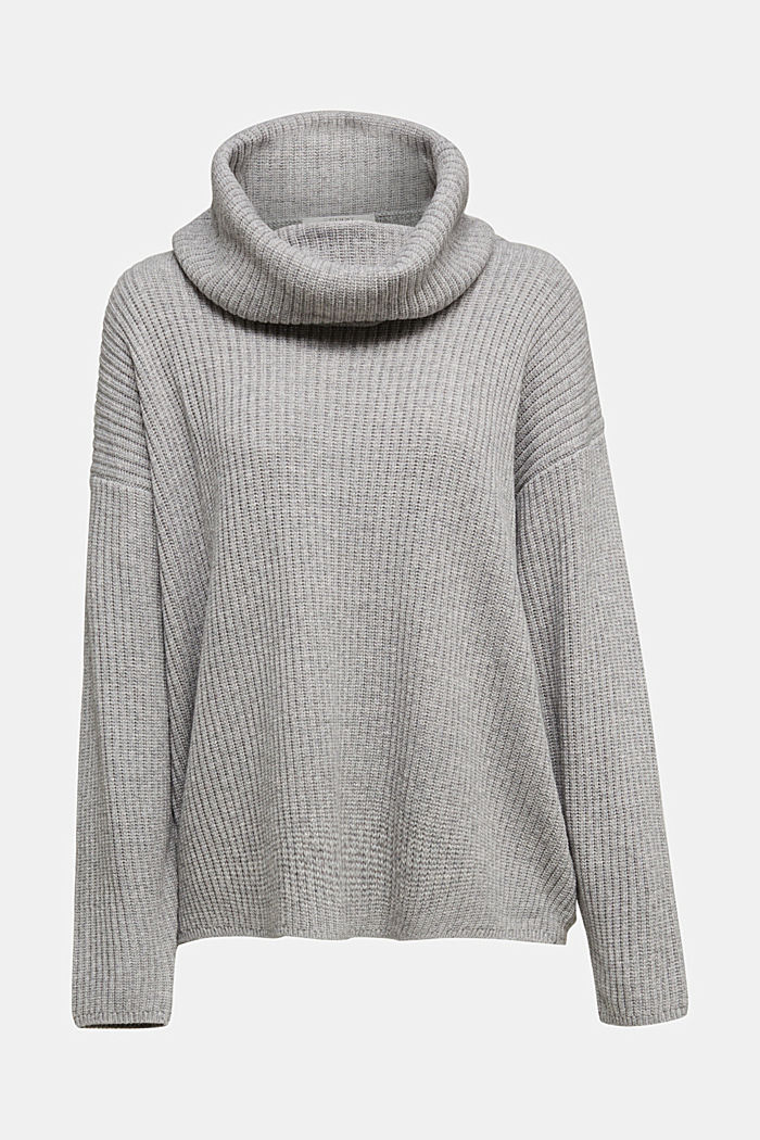 With cashmere: oversized polo neck sweater, MEDIUM GREY, detail image number 5