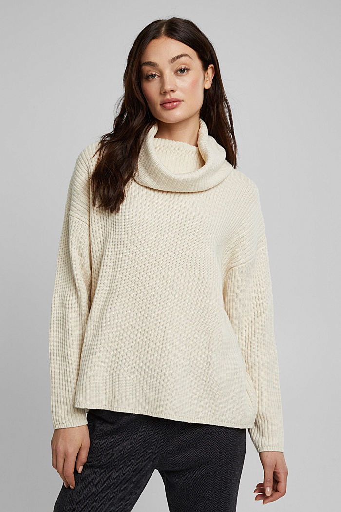With cashmere: oversized polo neck sweater, CREAM BEIGE, detail image number 0