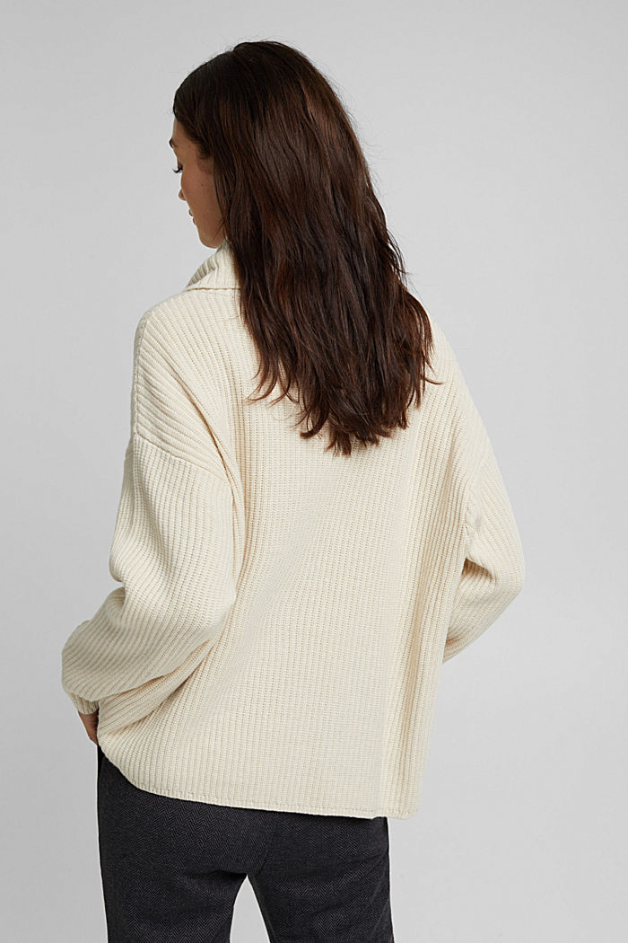 With cashmere: oversized polo neck sweater, CREAM BEIGE, detail image number 3