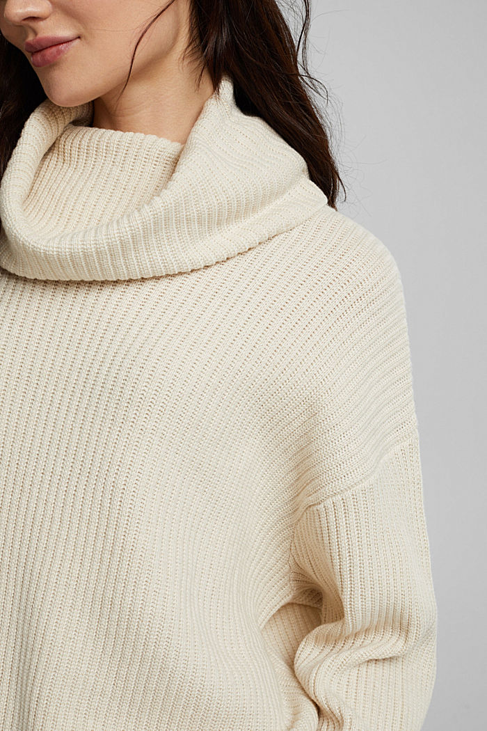 With cashmere: oversized polo neck sweater, CREAM BEIGE, detail image number 2