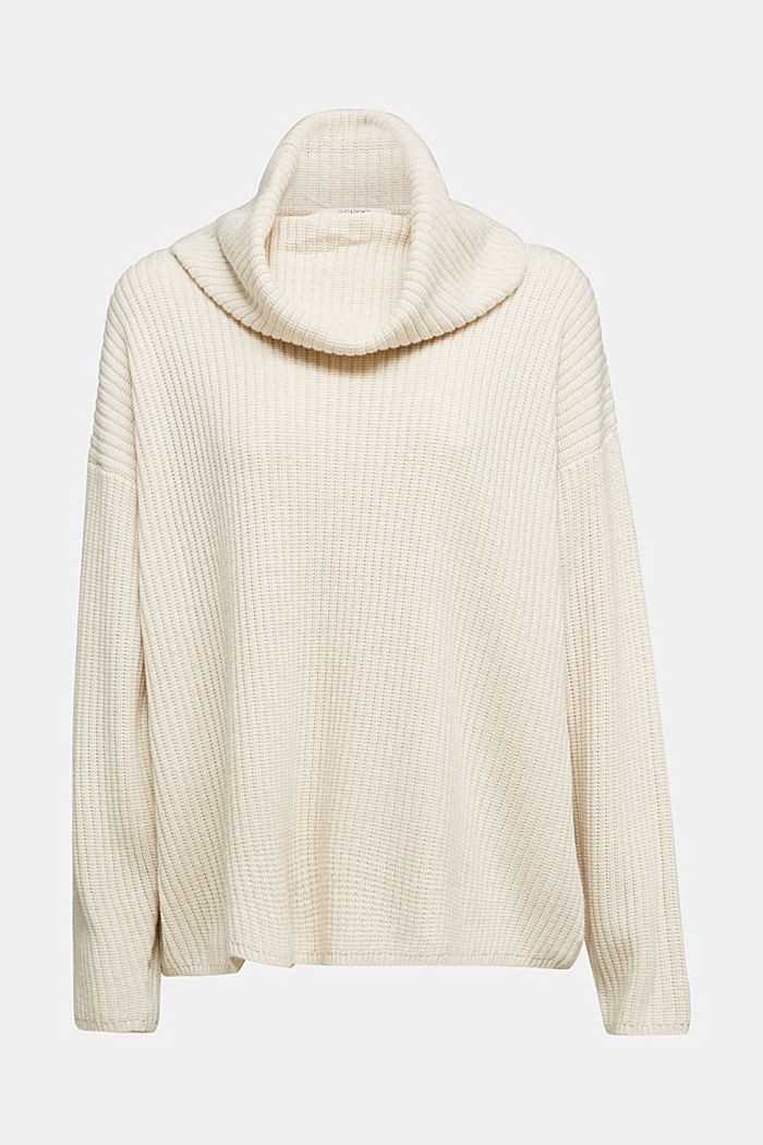 With cashmere: oversized polo neck sweater, CREAM BEIGE, detail image number 5