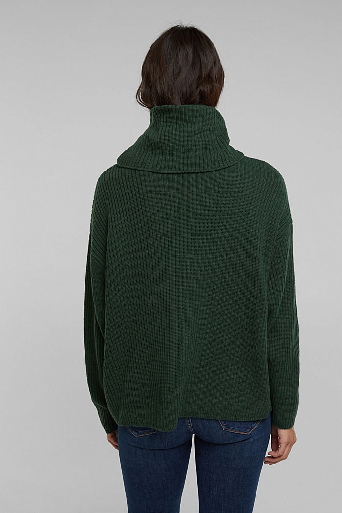With cashmere: oversized polo neck sweater, DARK GREEN, detail image number 3
