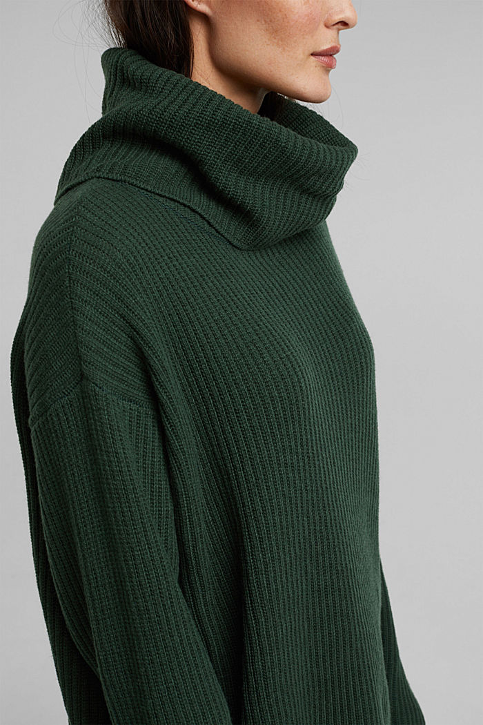 With cashmere: oversized polo neck sweater, DARK GREEN, detail image number 2