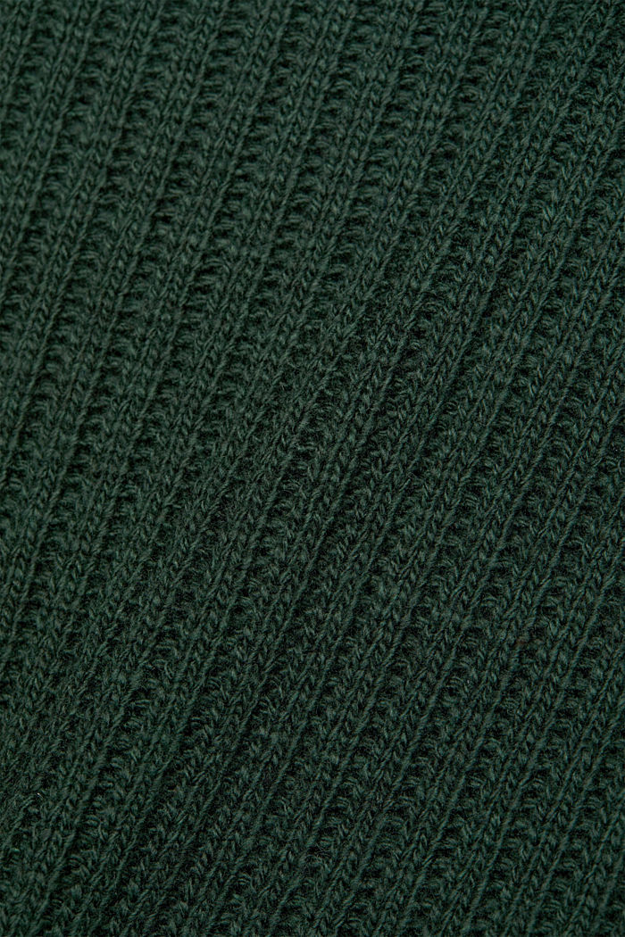 With cashmere: oversized polo neck sweater, DARK GREEN, detail image number 4