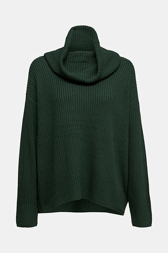 With cashmere: oversized polo neck sweater, DARK GREEN, detail image number 5