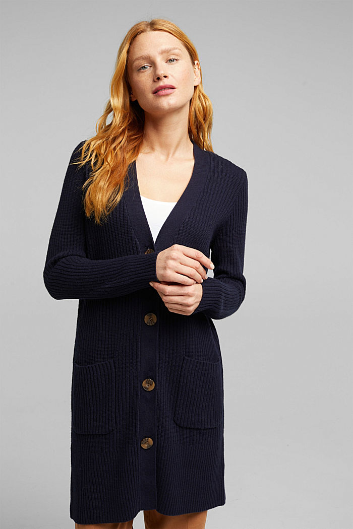 Long cardigan containing cashmere, NAVY, detail image number 0