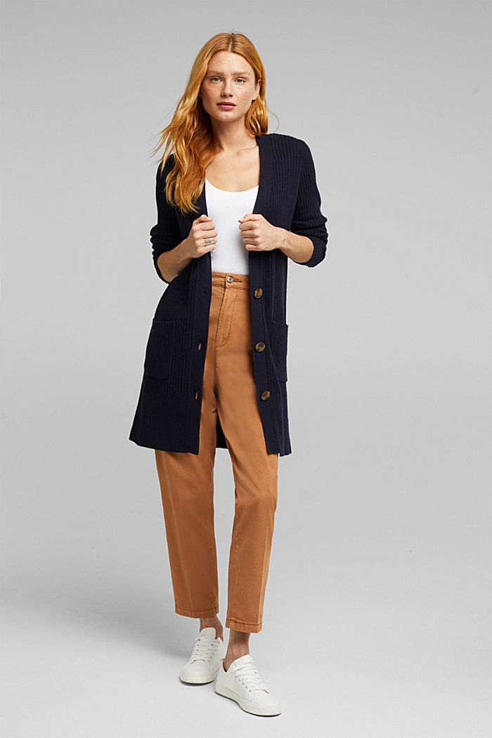 Long cardigan containing cashmere, NAVY, detail image number 1