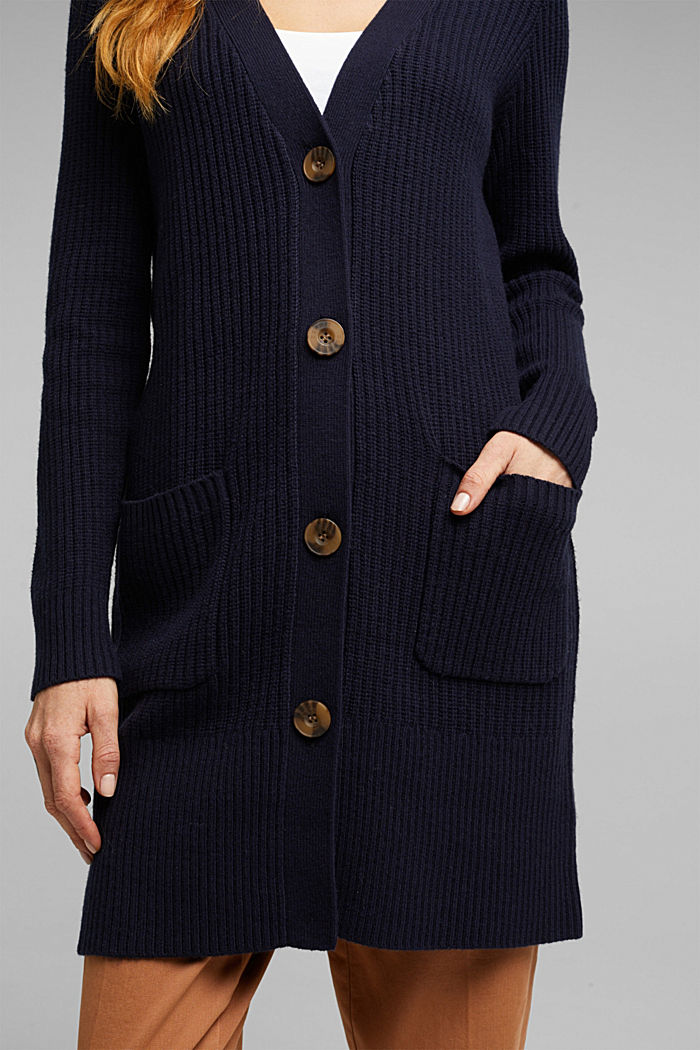 Long cardigan containing cashmere, NAVY, detail image number 2