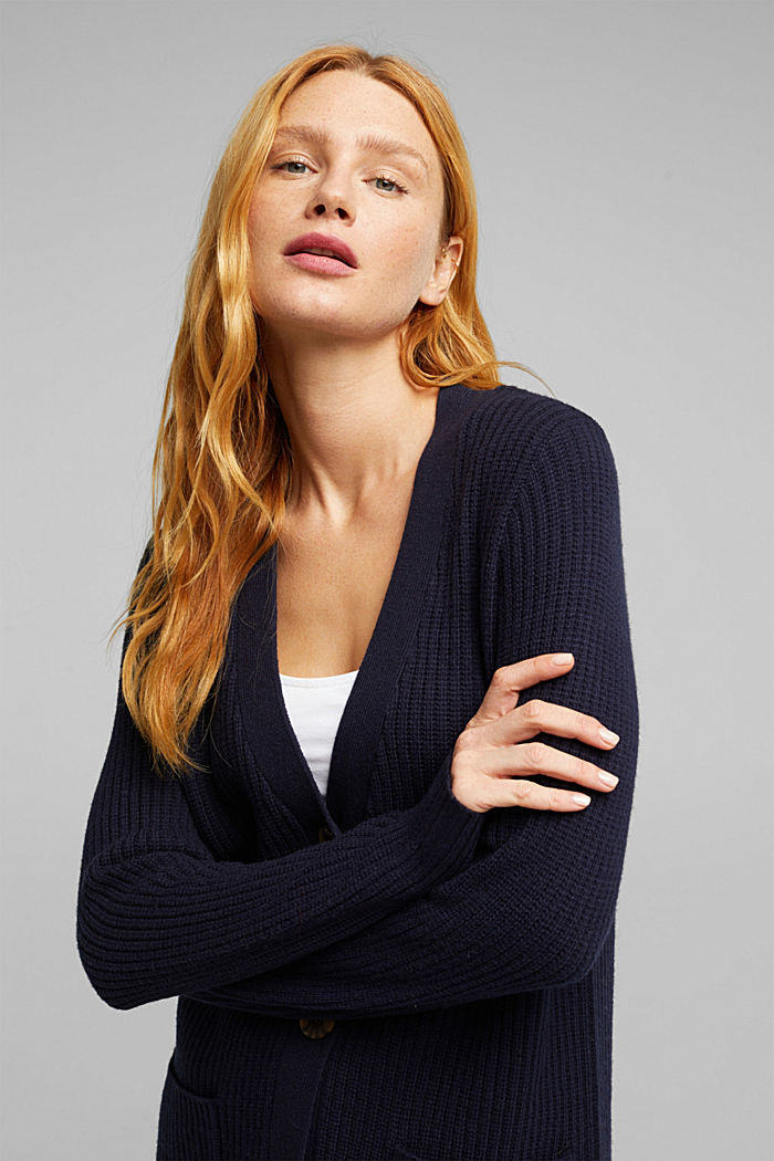 Long cardigan containing cashmere, NAVY, detail image number 5