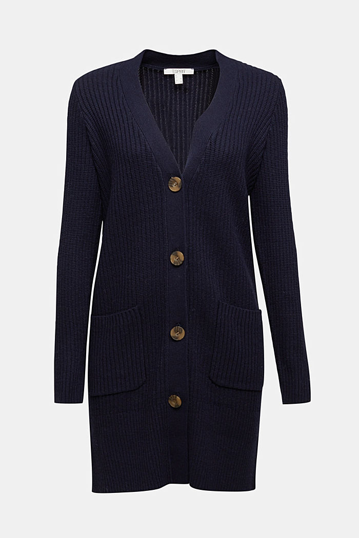 Long cardigan containing cashmere, NAVY, detail image number 6