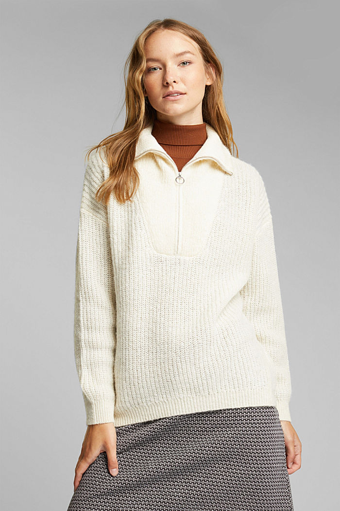 Zip-neck jumper containing alpaca, CREAM BEIGE, detail image number 0