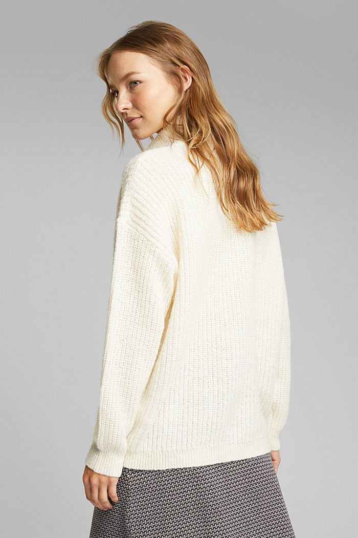 Zip-neck jumper containing alpaca, CREAM BEIGE, detail image number 3