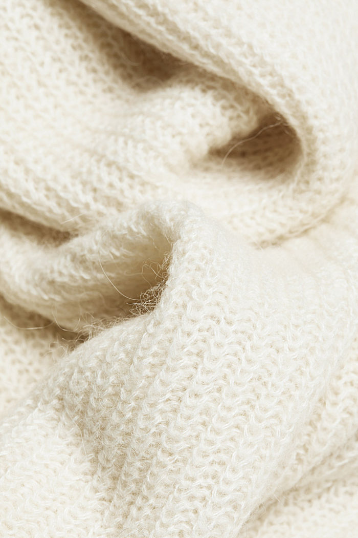 Zip-neck jumper containing alpaca, CREAM BEIGE, detail image number 4