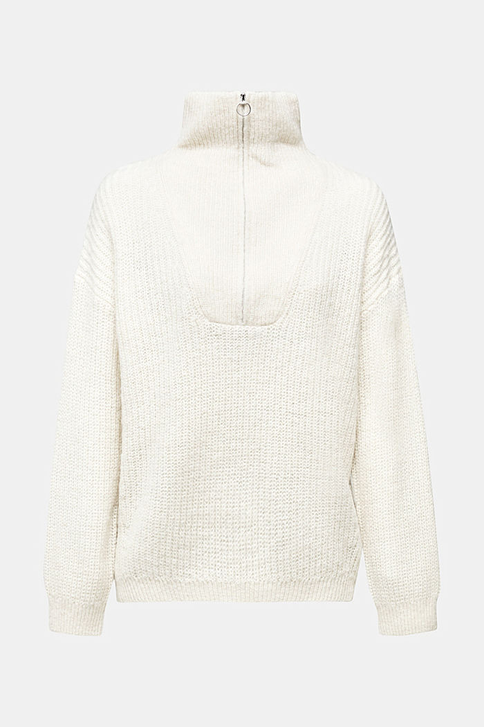 Zip-neck jumper containing alpaca, CREAM BEIGE, detail image number 5