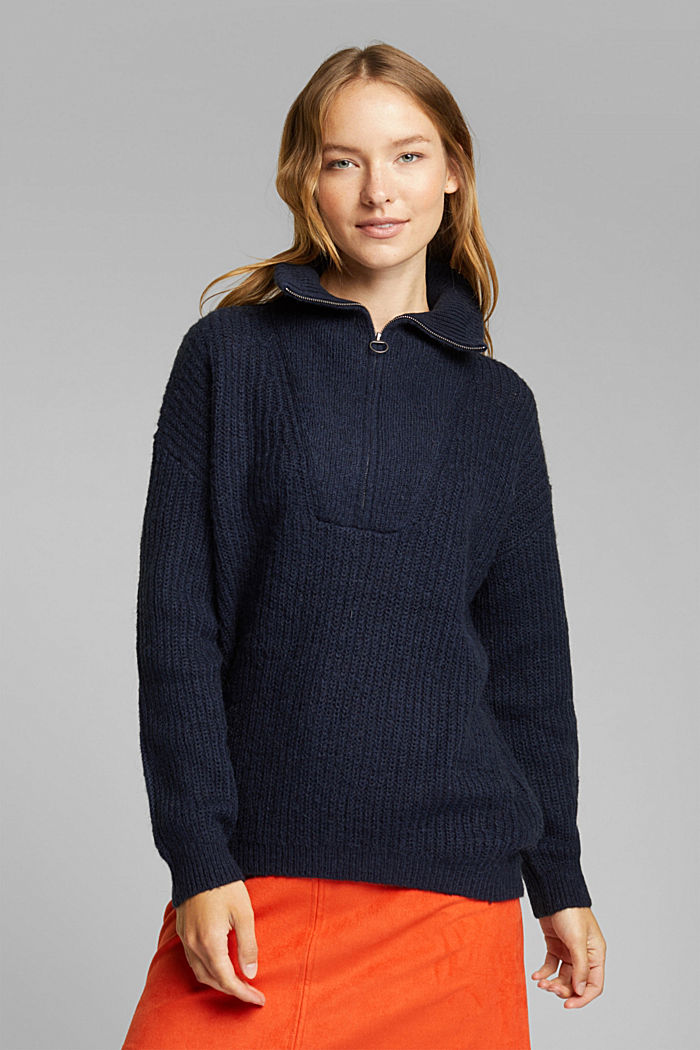 Zip-neck jumper containing alpaca, NAVY, detail image number 0