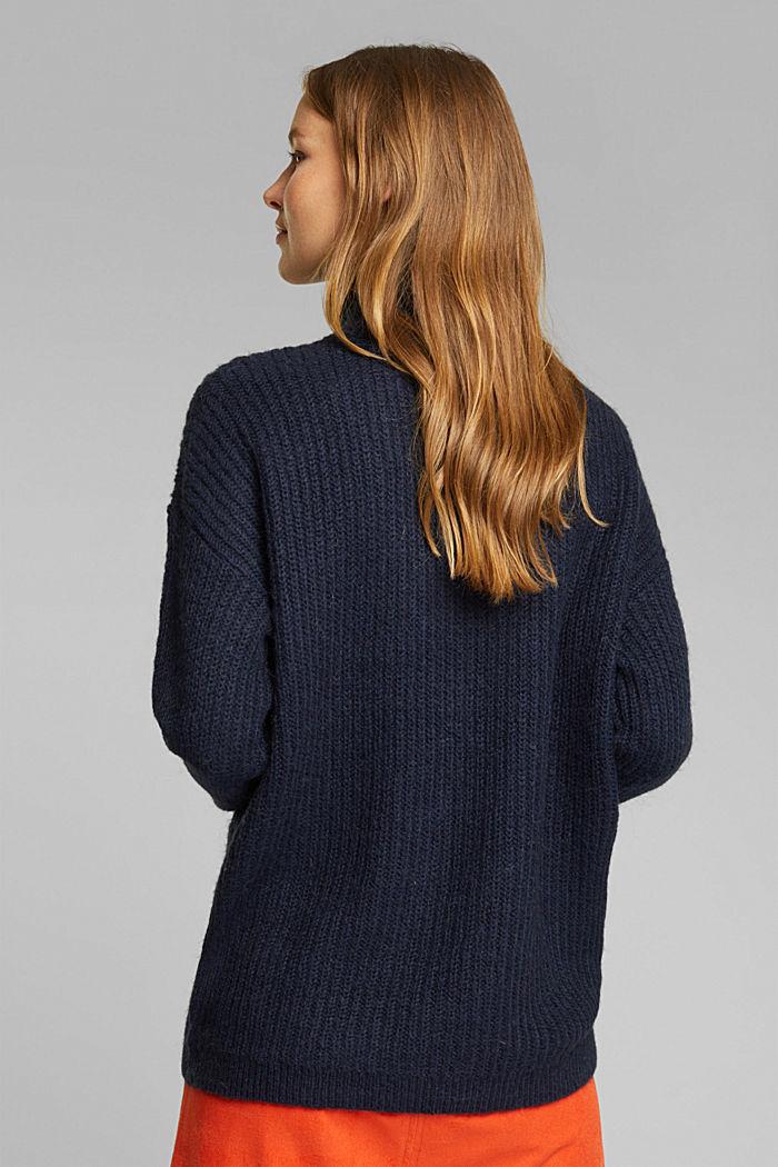 Zip-neck jumper containing alpaca, NAVY, detail image number 3