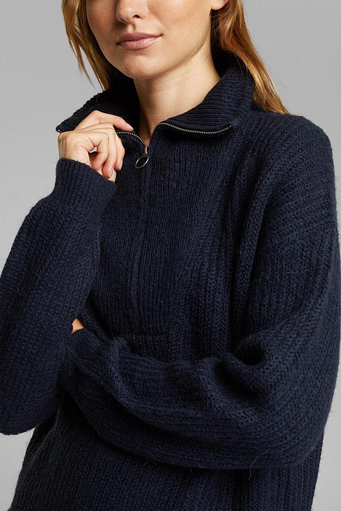Zip-neck jumper containing alpaca, NAVY, detail image number 2