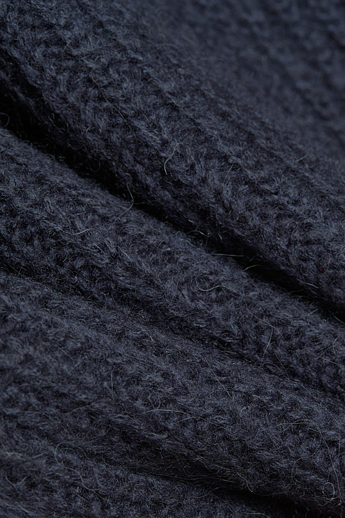 Zip-neck jumper containing alpaca, NAVY, detail image number 4