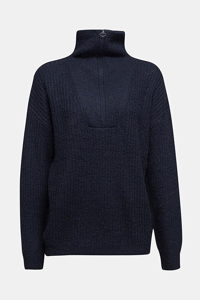 Zip-neck jumper containing alpaca, NAVY, detail image number 5