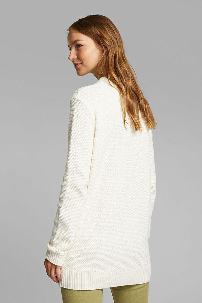 Lange trui met biologisch katoen, CREAM BEIGE, detail image number 3