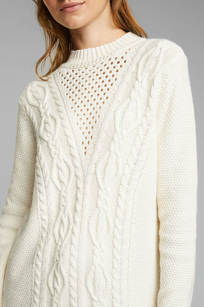 Long jumper containing organic cotton, CREAM BEIGE, detail image number 2