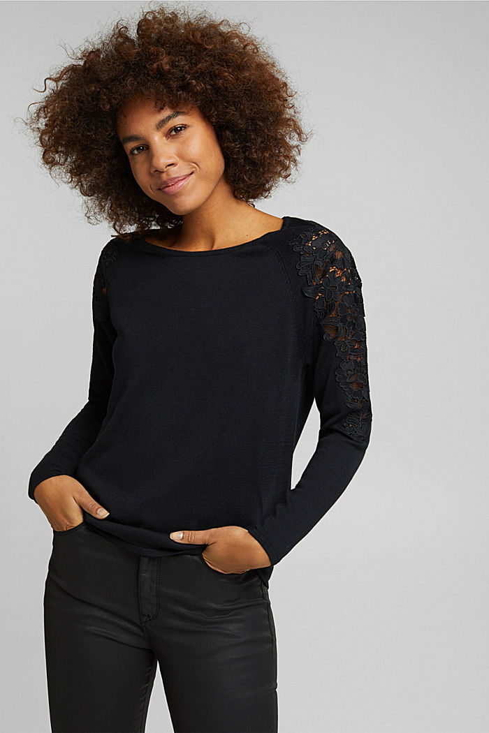 Recycled: Jumper with lace, BLACK, detail image number 0
