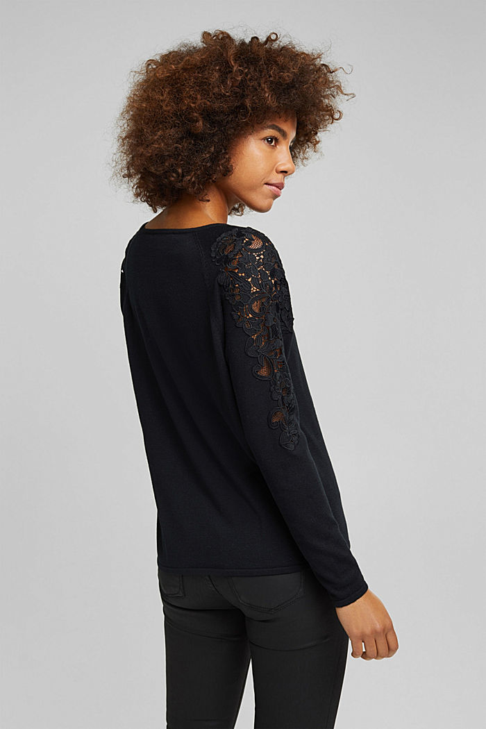 Recycled: Jumper with lace, BLACK, detail image number 3