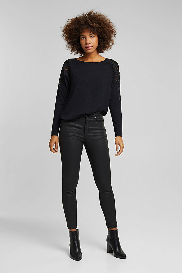 Recycled: Jumper with lace, BLACK, detail image number 6