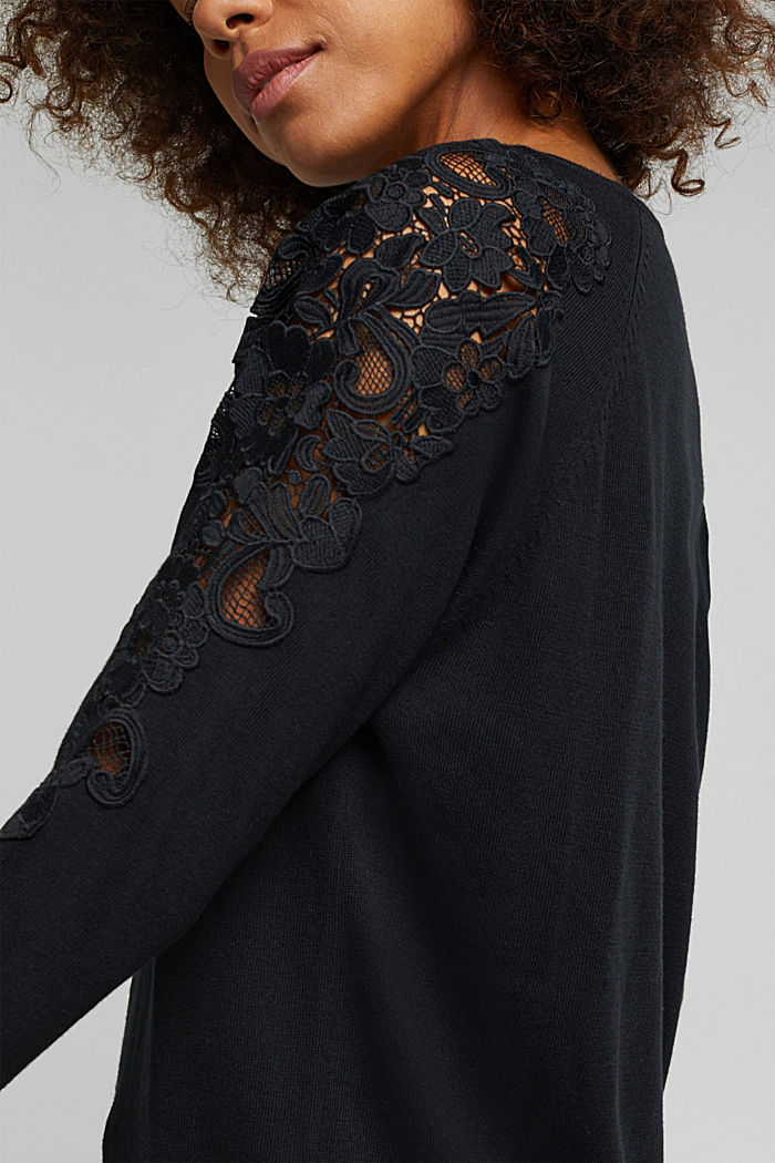 Recycled: Jumper with lace, BLACK, detail image number 2