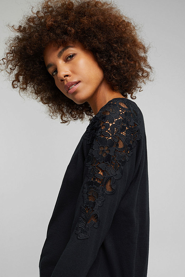 Recycled: Jumper with lace, BLACK, detail image number 5